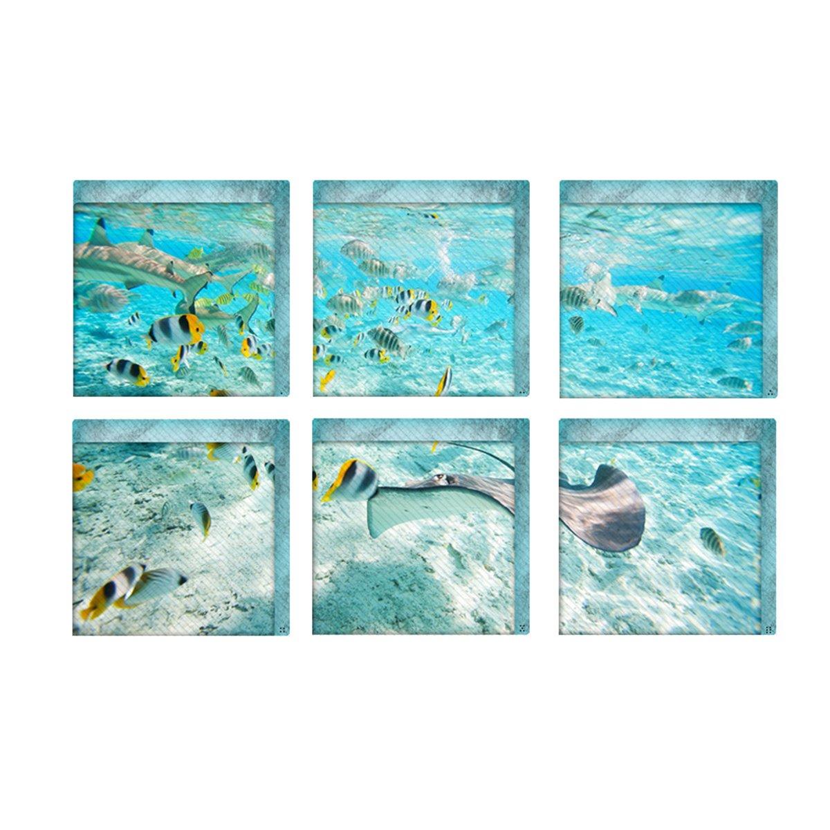 OUNONA 6 Pcs The Underwater World Bath Treads Sticker Non-slip Saftey Shower Bathtub Stickers