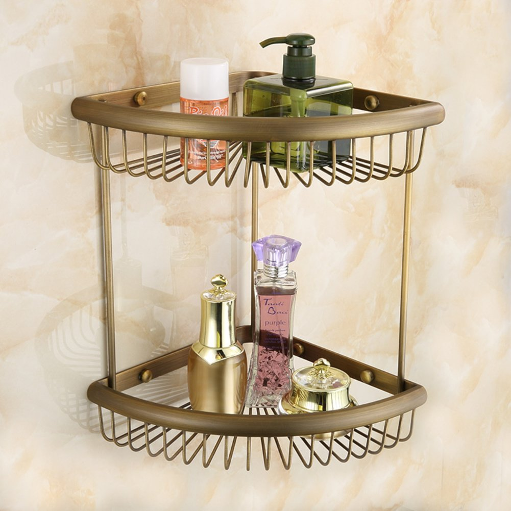 European copper antique racks/Bathroom copper basket rack/double retro corner rack 70%OFF