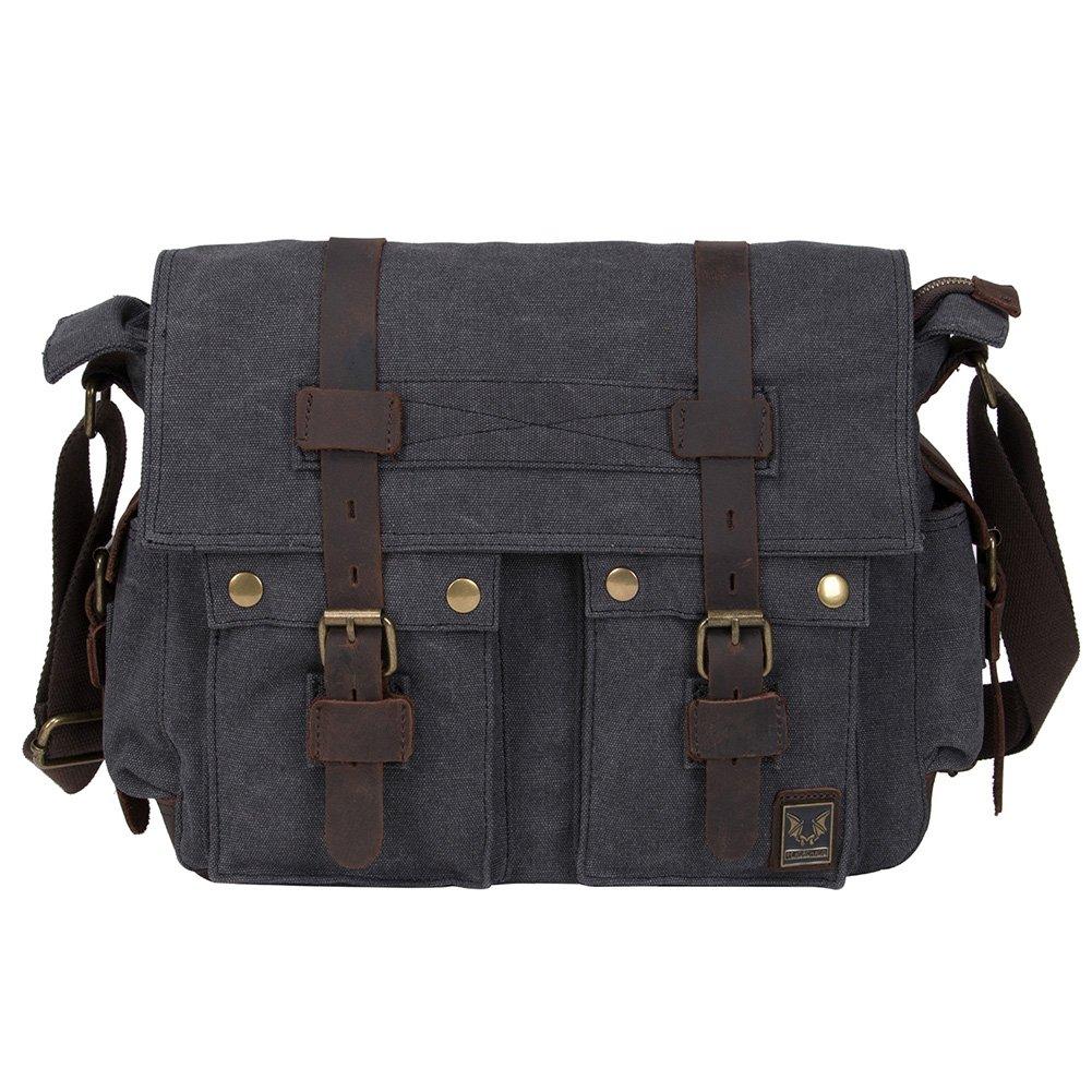 eaa7f5c58f0 Amazon.com   Peacechaos Men s Canvas Leather DSLR SLR Vintage Camera Messenger  Bag ...   Electronics