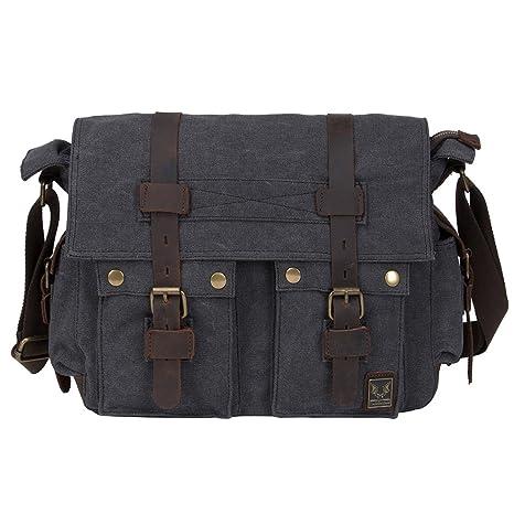 Amazon.com  Peacechaos Men s Canvas Leather DSLR SLR Vintage Camera Messenger  Bag …  Electronics b2639f6ebd139