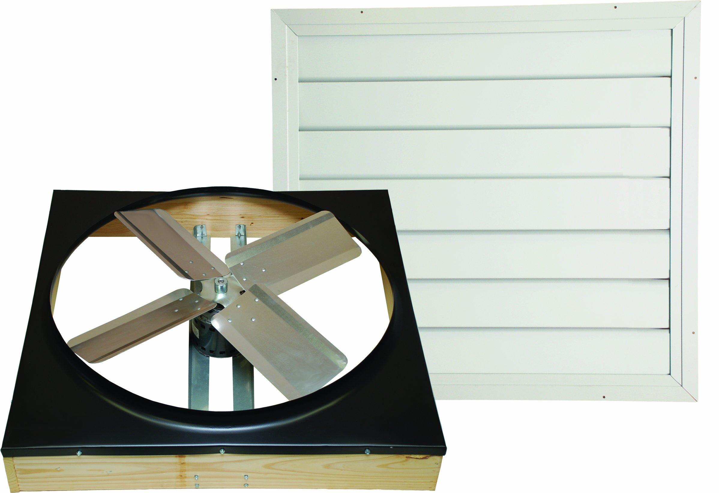 Cool Attic CX242DDWT Drive Drive 2-Speed Whole House Fan with Shutter, Exhaust Fan, 24-Inch