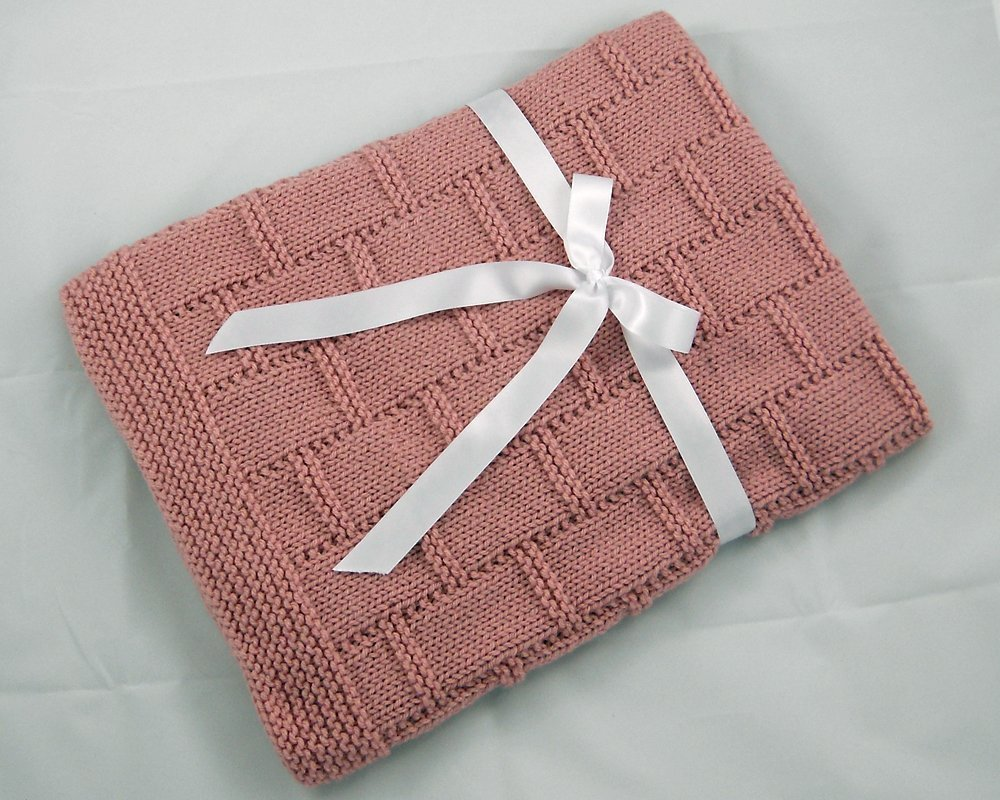 Pink Hand Knit Baby Blanket by Custombearhug 31 by 34 Inches