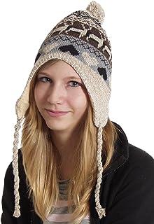 Berretto invernale in stile norvegese, unisex, con pompon e nastri, taglia unica
