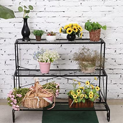Multilayer Flower Pot Stand Iron 3 Tier Potted Plant Display Rack Planter  Ladder Storage Shelf