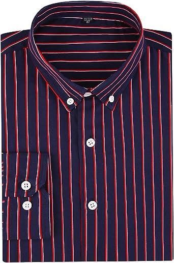 DOKKIA Camisa de vestir casual de negocios con mangas verticales a rayas para hombre: Amazon.es: Ropa y accesorios