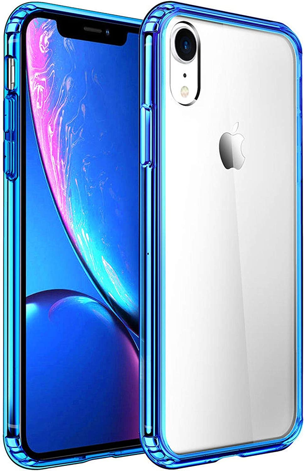 Mkeke Compatible with iPhone XR Case,Clear Anti-Scratch Shock Absorption Cover Case for iPhone XR -Blue