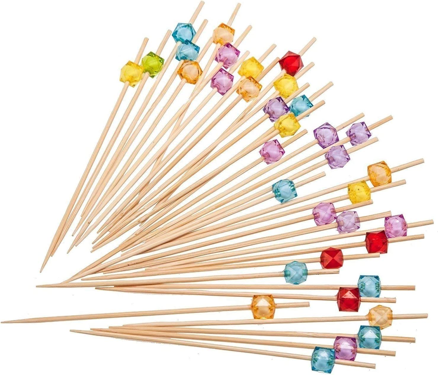 PuTwo Picks Handmade Natural Bamboo Sticks with Cube Beads for Cocktail Appetizers Fruits Dessert, 300 counts, Multicolor