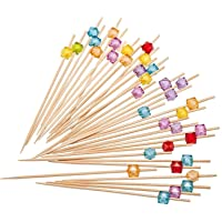 PuTwo Picks Handmade Natural Bamboo Sticks with Cube Beads for Cocktail Appetizers Fruits Dessert, 300 counts…