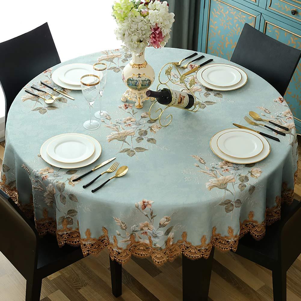 ヨーロッパの刺繍テーブル クロス, ダイニングのための厚い円形ポリエステルテーブルカバー レストラン-青   B07S3ZHTGL
