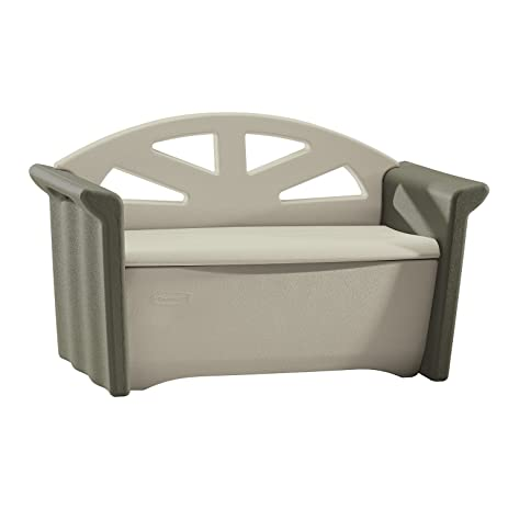 Rubbermaid Outdoor Patio Storage Bench, 4 Cu. Ft., Olive/Sandstone (