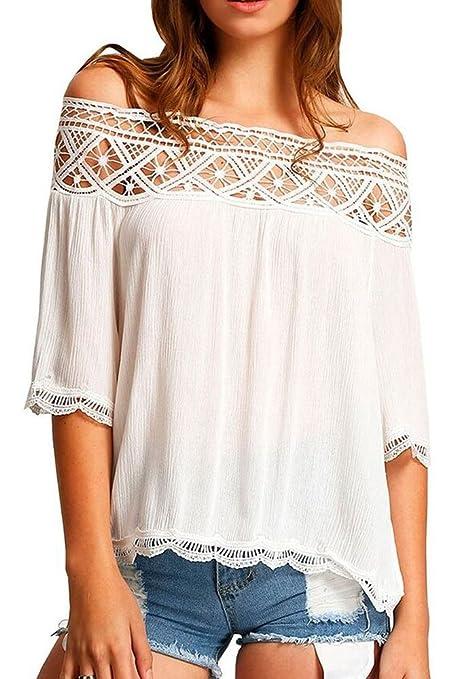 Nuevo color blanco Crochet encaje Off hombro blusa de para fiesta camiseta Top Casual Wear Summer