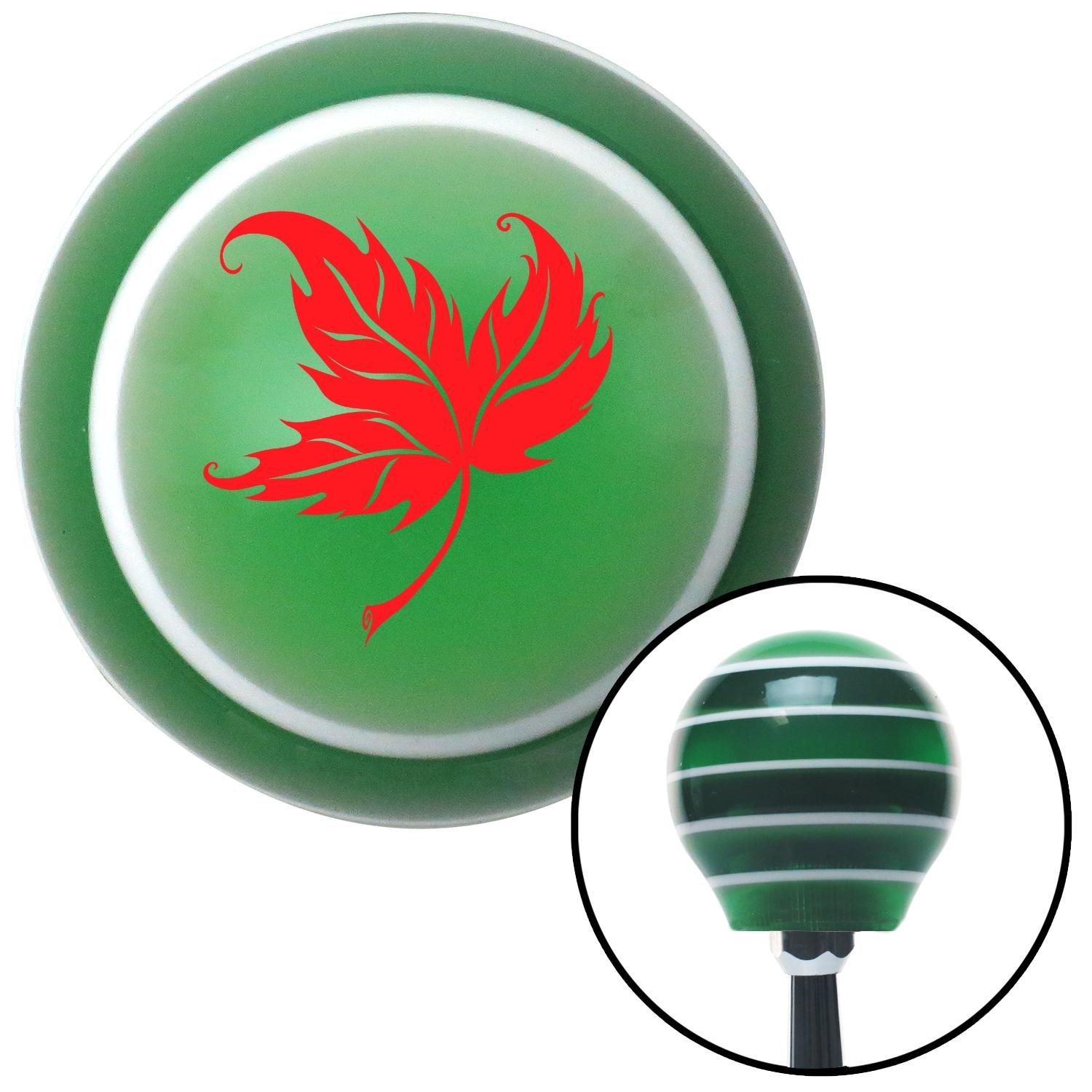 Red Falling Leaf American Shifter 125681 Green Stripe Shift Knob with M16 x 1.5 Insert