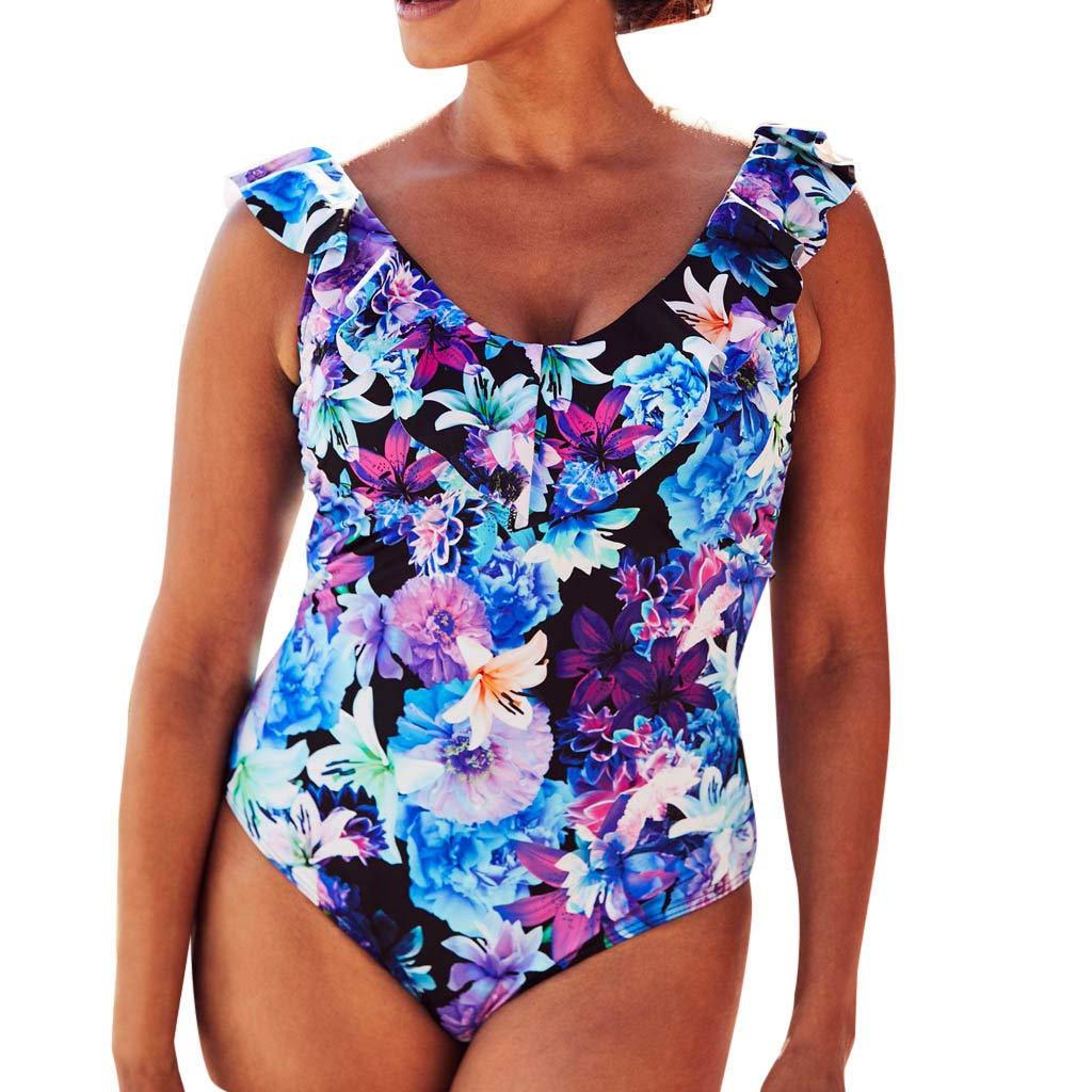 AKIMPE Women One Piece Swimsuit Floral Print Ruffled Plus Size Stap Swimwear Bathing Suit Beachwear B-Blue XXL