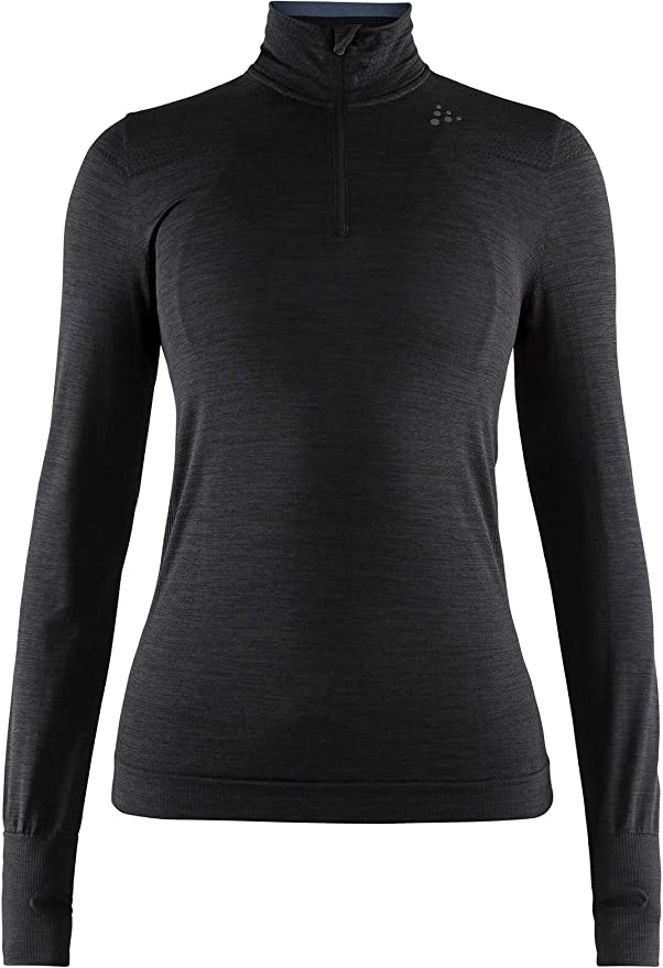 Craft Mujer fuseknit Comfort Zip W L Base Layer, Black, L