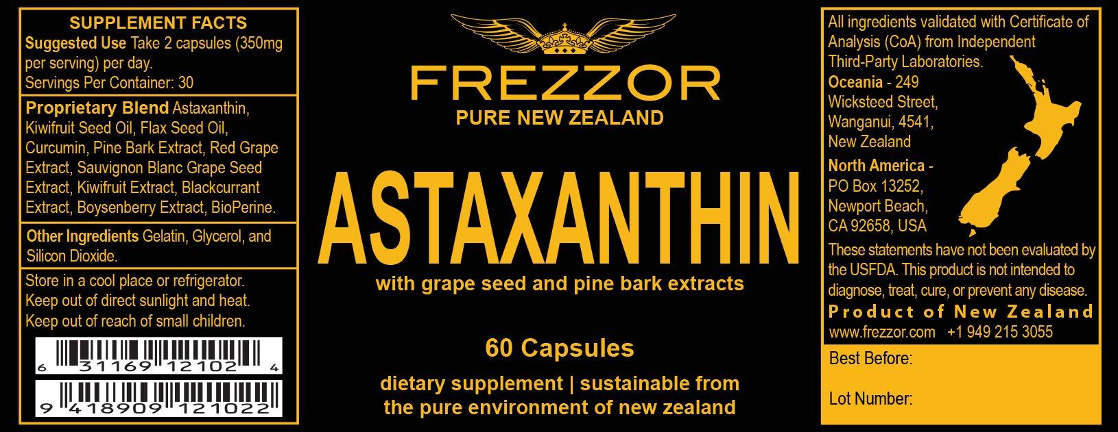 FREZZOR Pure New Zealand | Astaxanthin Black | Ultimate 11 Antioxidant Blend | Cognitive Memory Enhancer | Nootropic | Smart Supplement | All-Natural | Lab Certified