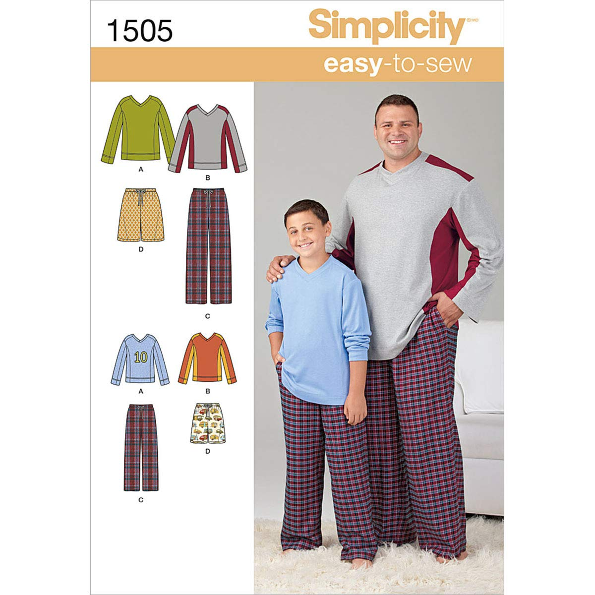 Simplicity Creative Patterns 1505 Husky Boys' and Big and Tall Men's Tops and Pants, A (Small-Large/1X-Large-5X-Large)