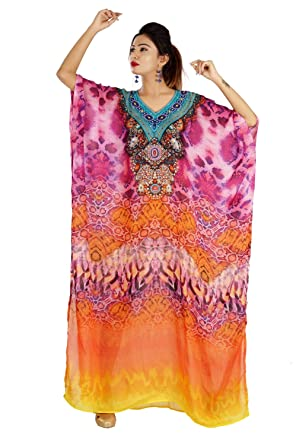 9197937780 Image Unavailable. Image not available for. Color: Beach Kaftan Dress for  Beaded/one Piece Jeweled Full Length ...