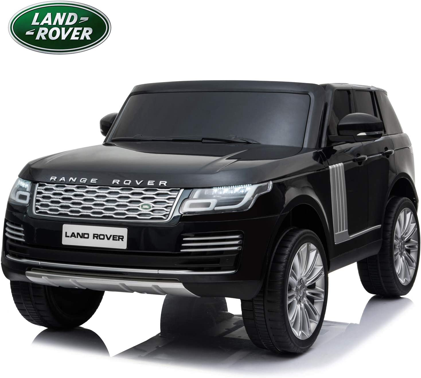 Licensed Land Rover Range Rover HSE 12V Electric Ride on Car with Remote Control for Kids, 2 Seaters, MP3, Bluetooth, Leather Seats, Openable Doors, LED Lights, Four Wheels Spring Suspension - Black