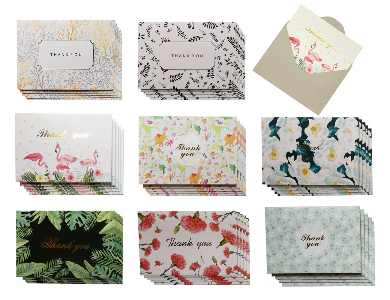 JINSRAY Thank You Cards Bulk Box Set Assortment-8 Unique Floral Designs-Blank Cards-40 Pack Assorted Flower Greeting Note Cards with Premium Envelopes for Wedding, Graduation, Baby Shower Bridal Party