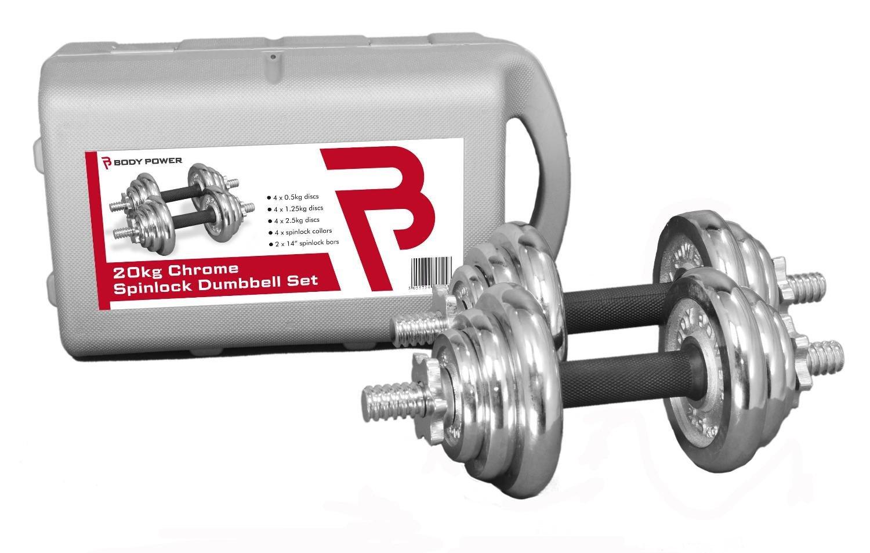 Bodypower 20 kg Chrome Spinlock juego de pesas (con funda): Amazon ...