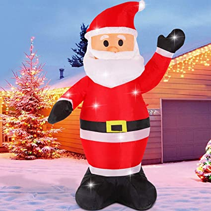 huge discount 18860 90c83 Fanshunlite Christmas Inflatable 4FT Santa Claus Lighted Blow-Up Yard Party  Decoration for Xmas Airblown Inflatable Outdoor Indoor Home Garden Family  ...
