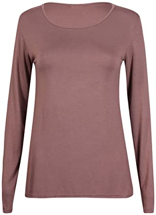 a18d2157fbb3 New Ladies Plain Stretch Fit Long Sleeve Womens T-Shirt Round Neck Basic  Top Light Brown Size 8 - 10: Amazon.co.uk: Clothing