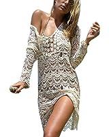 Jeasona Women's Bathing Suit Cover Up Crochet Backless Bikini Swimsuit Dress