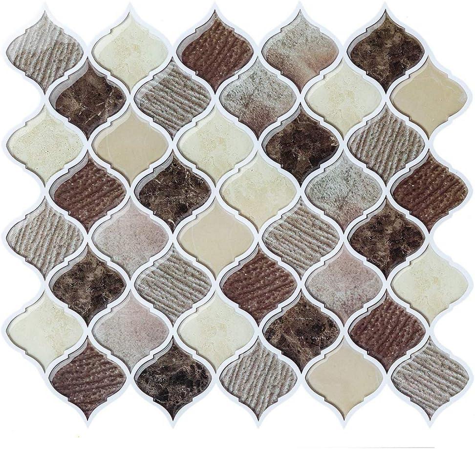 - Peel And Stick Wall Tile For Kitchen Backsplash, Brown Arabesque