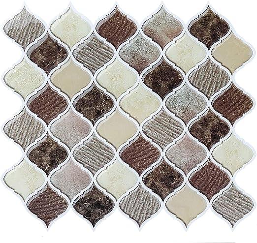 FAM STICKTILES Peel and Stick Wall Tile for Kitchen Backsplash,Brown  Arabesque Tile Backsplash-Kitchen Backsplash Tiles Peel and Stick Wall  Stickers ...