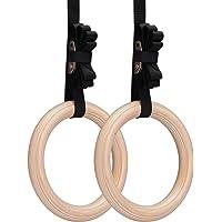 Gymnastiekringen, Yimidear Hout Olympische ringen met Gespriemen Houten gymringen voor Krachttraining, Crossfit, Pull…