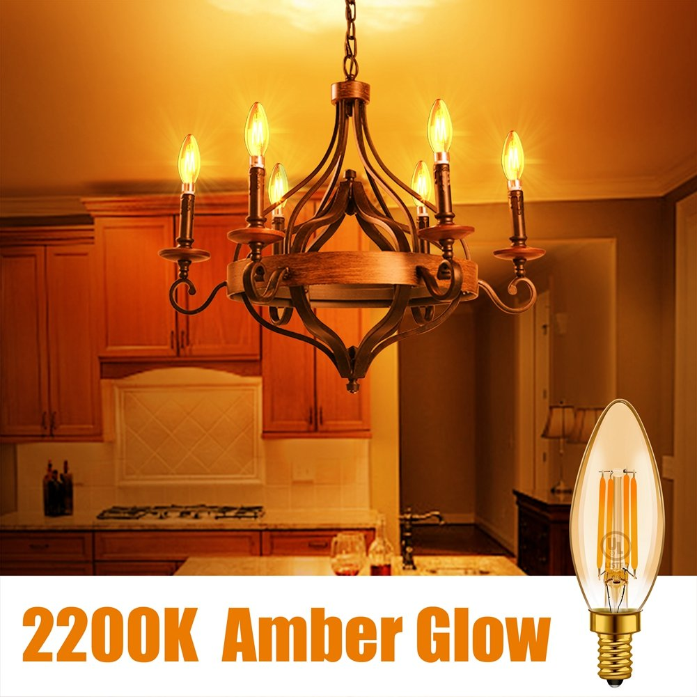 Ceiling Fan Bulb Emotionlite Dimmable Candelabra Bulbs LED Light Bulbs 350LM 2200K UL Listed Amber Yellowish E12 Base 12 Pack 4W Chandelier Light 40W Equivalent