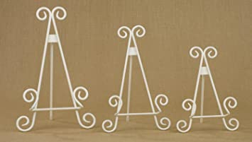 13u0026quot; Antique White Stratford Metal Easel Plate Photo Book Stand : plate easel stand - pezcame.com