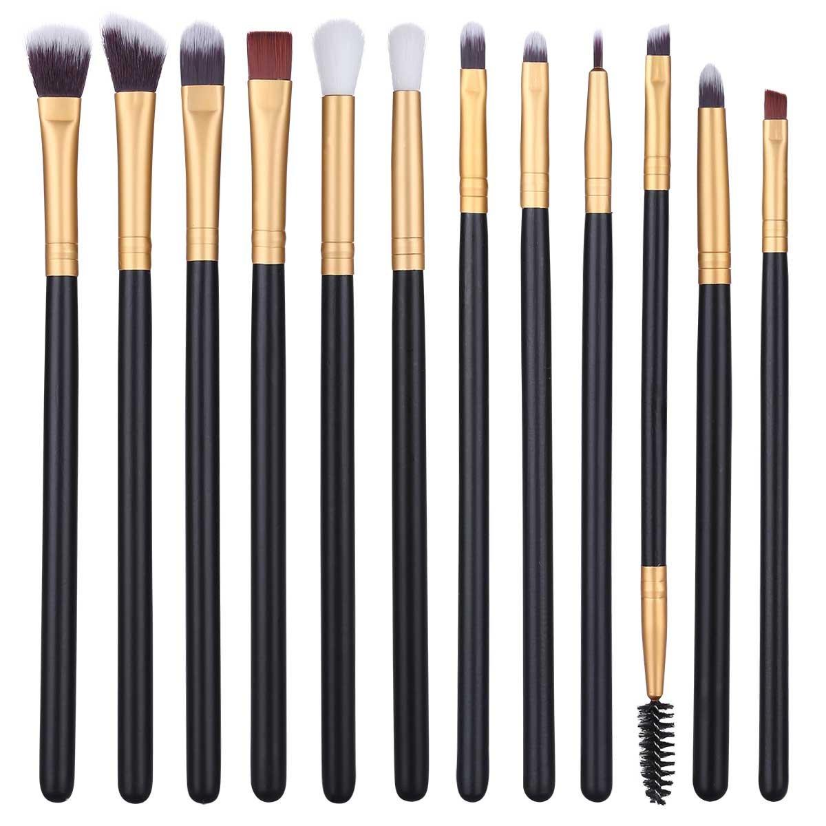 12Pcs Eye Makeup Brushes, Professional Eye Brush Set for Shading or Blending of Eyeshadow Crease Powder Eyebrow Eyeliner Highlighter Brush Essential Concealer Cosmetics Brush Tool