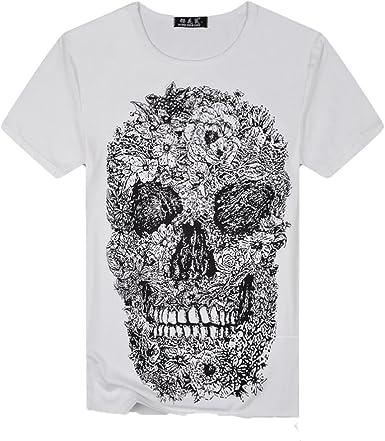 Camiseta para Hombre, RETUROM Camisa de Manga Corta de la Camiseta de la Manga de la Camiseta de Las Camisetas de la impresión del cráneo para Hombre: Amazon.es: Ropa y accesorios