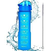 Waterfles met rietje en motiverende tijdmarkering, lekvrij BPA-vrij, zorg ervoor dat je de hele dag genoeg water drinkt…