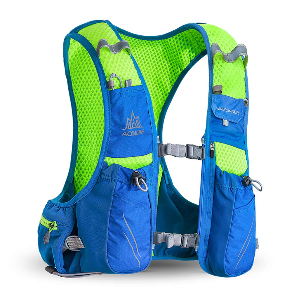 POJNGSN 10L Running Hydration Vest Men Women Bicycle Outdoor Sport Bags Jogging Cycling Hiking Backpack blue-350-2L