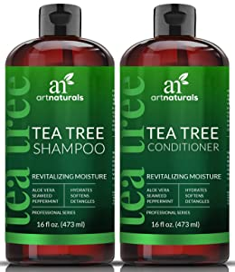 ArtNaturals Tea Tree Shampoo and Conditioner Set - (2 x 16 Fl Oz / 473ml) – Sulfate Free – Therapeutic Grade Tea Tree Essential Oil - Deep Cleansing for Dandruff, Lice, Dry Scalp and Itchy Hair