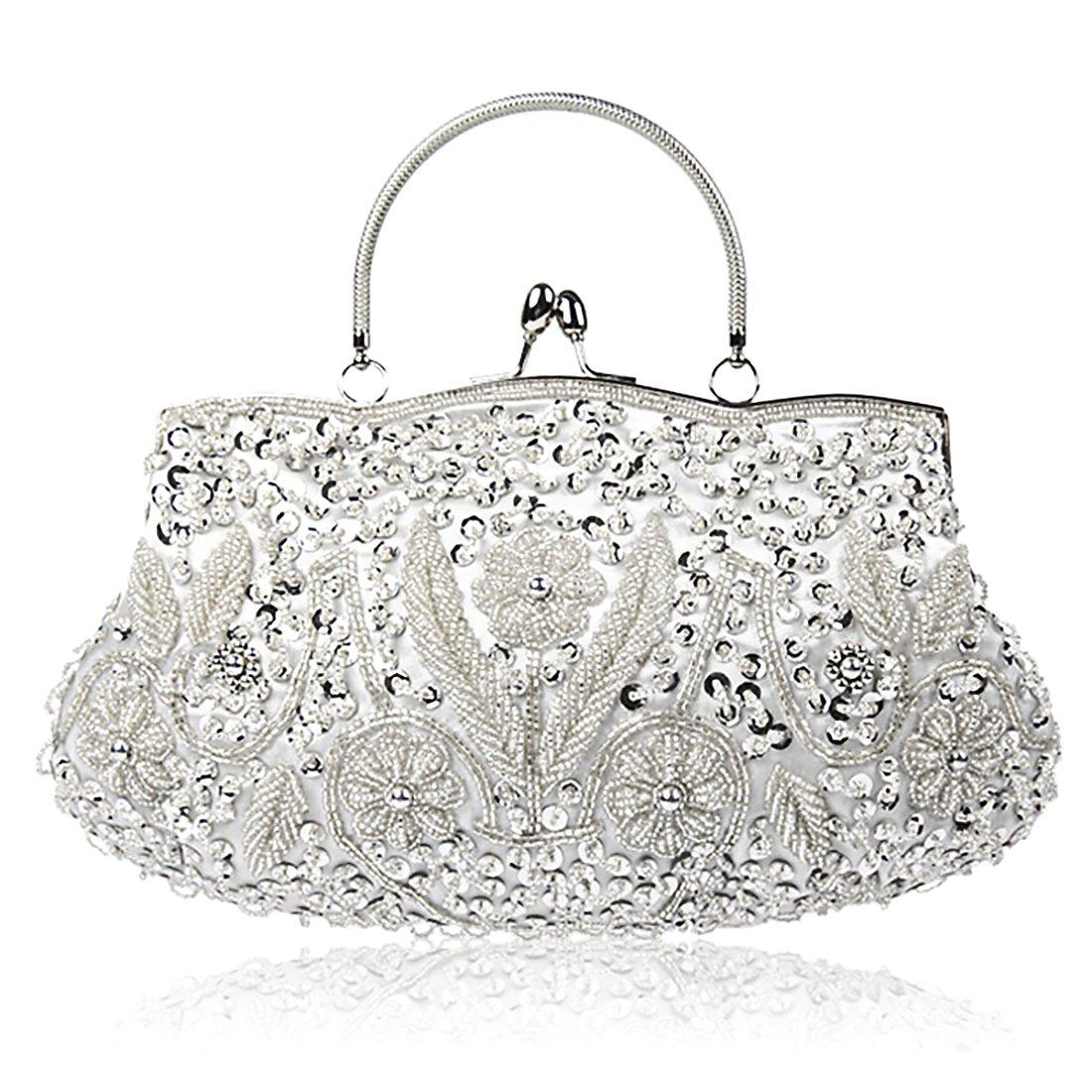 KNUS Beaded Sequin Design Evening Bag Wedding Party Handbag Large Clutch Purse (Silver)