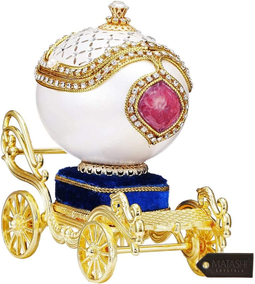 Matashi Jeweled Goose Egg Luxury Royal Princess Carriage Trinket Music Box Showpiece for Home Living Room Decor Gift for Mothers Day Christmas New Year Birthday (Trinket, Swan Lake)