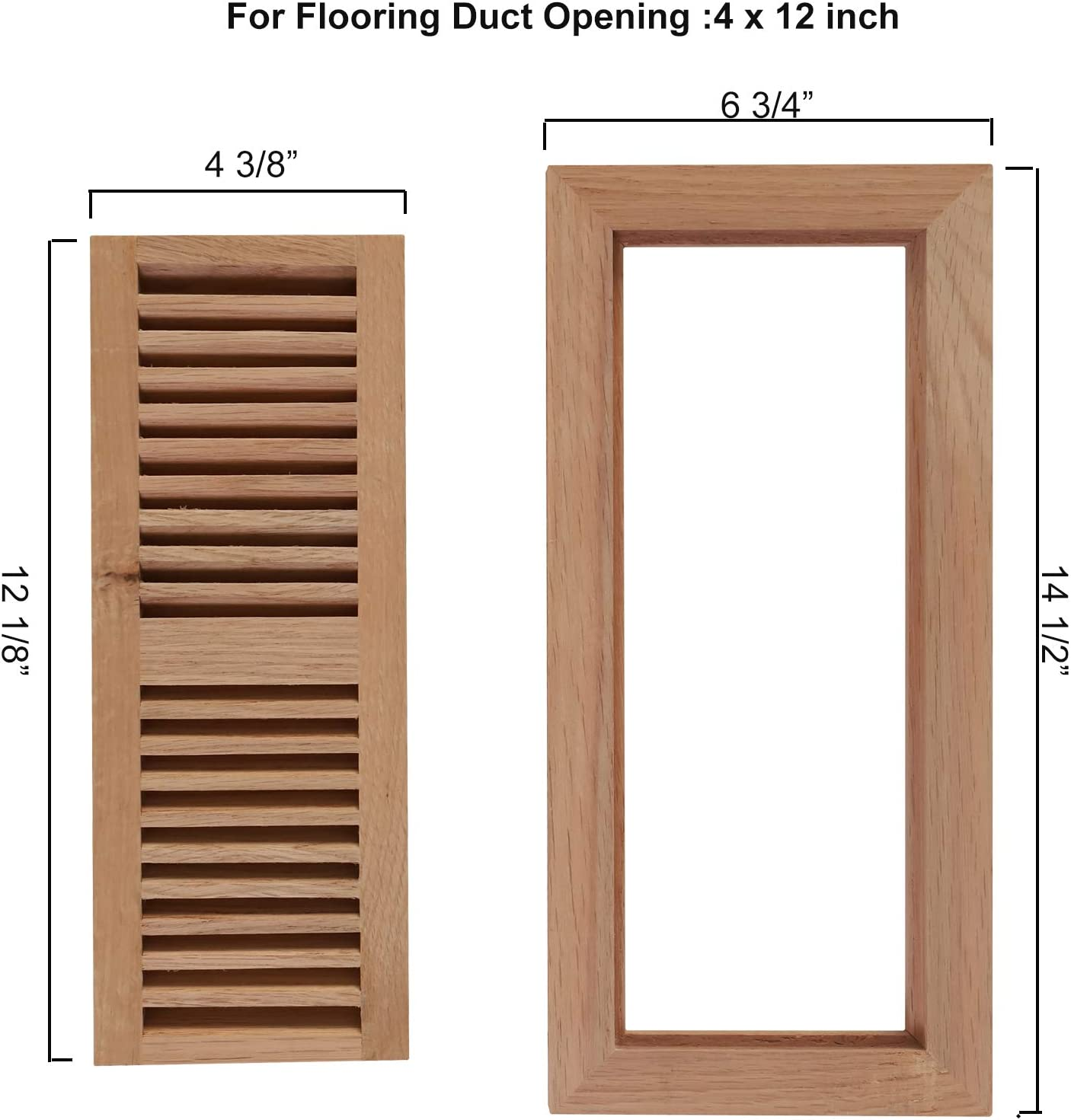 Welland 4 Inch By 12 Inch Hickory Wood Floor Vent Flush Mount With Frame Floor Register Vent Unfinished 3 4 Thickness Home Improvement