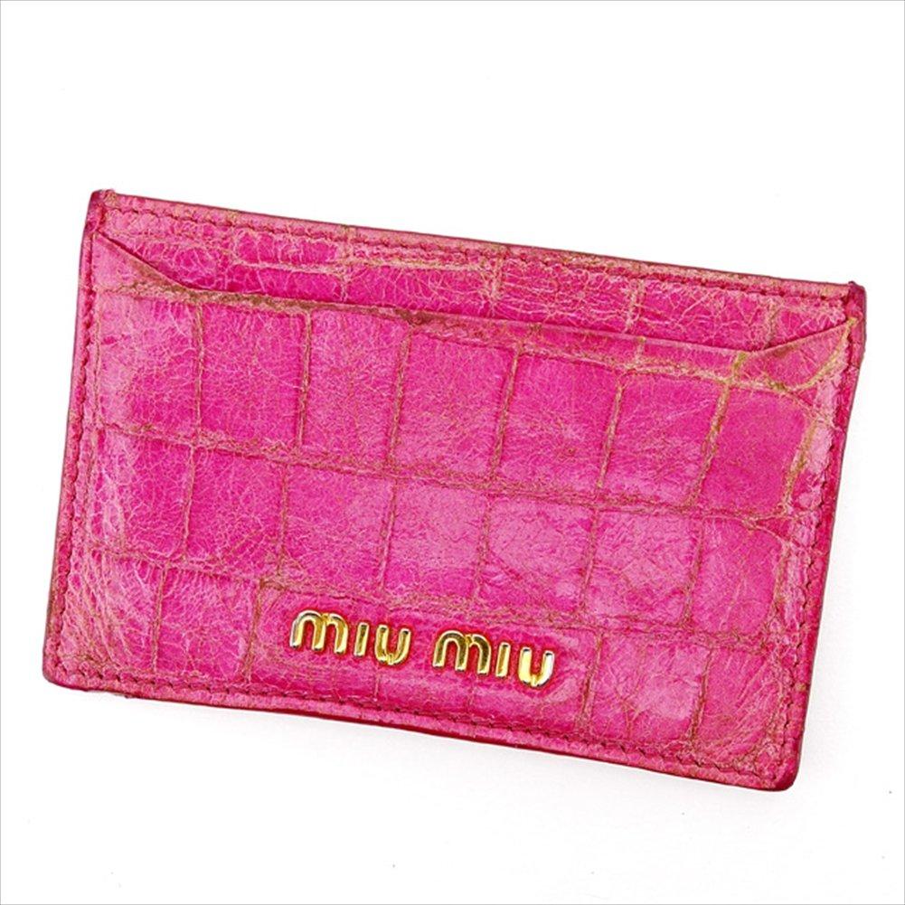 (ミュウミュウ) Miu Miu カードケース 名刺入れ ピンク×ゴールド クロコダイル型押し メンズ可 中古 A1619   B0753DTJ94