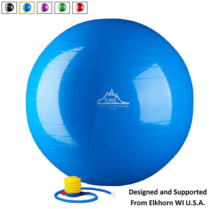 Black Mountain Products Anti Burst Exercise Stability Ball With Pump 2000 Pound Balls Accessories