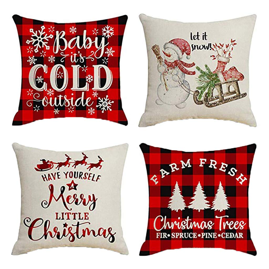Clearance! Christmas Pillowcases, Christmas Deer Linen Cushion Cover Pillow Case Sofa Bed Home Decoration Festival Pillow Case Cushion Cover (4Pcs B)