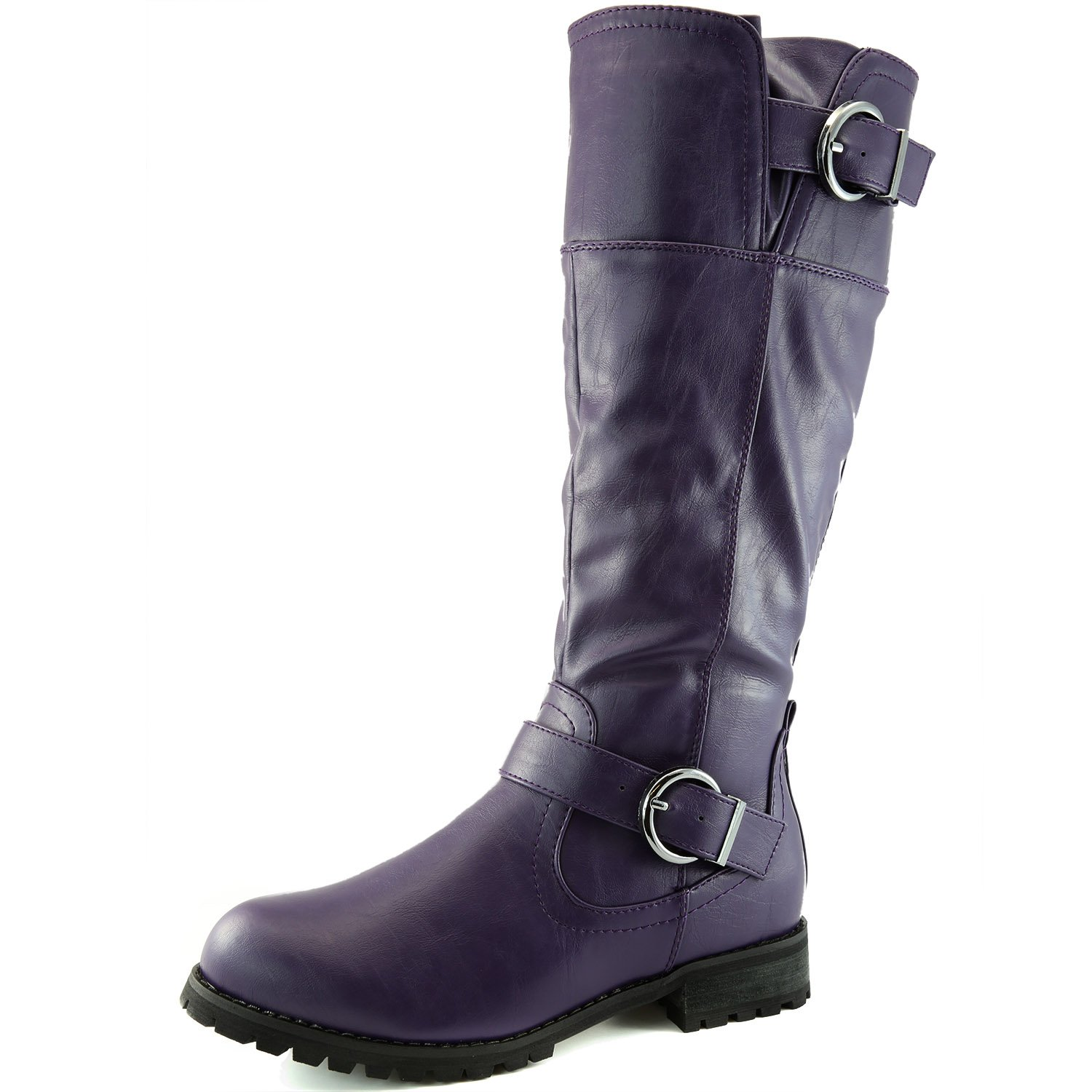 DailyShoes Women's Round Toe Ankle Double Buckle Military Combat Boots, Combat-Zero Purple PU 7