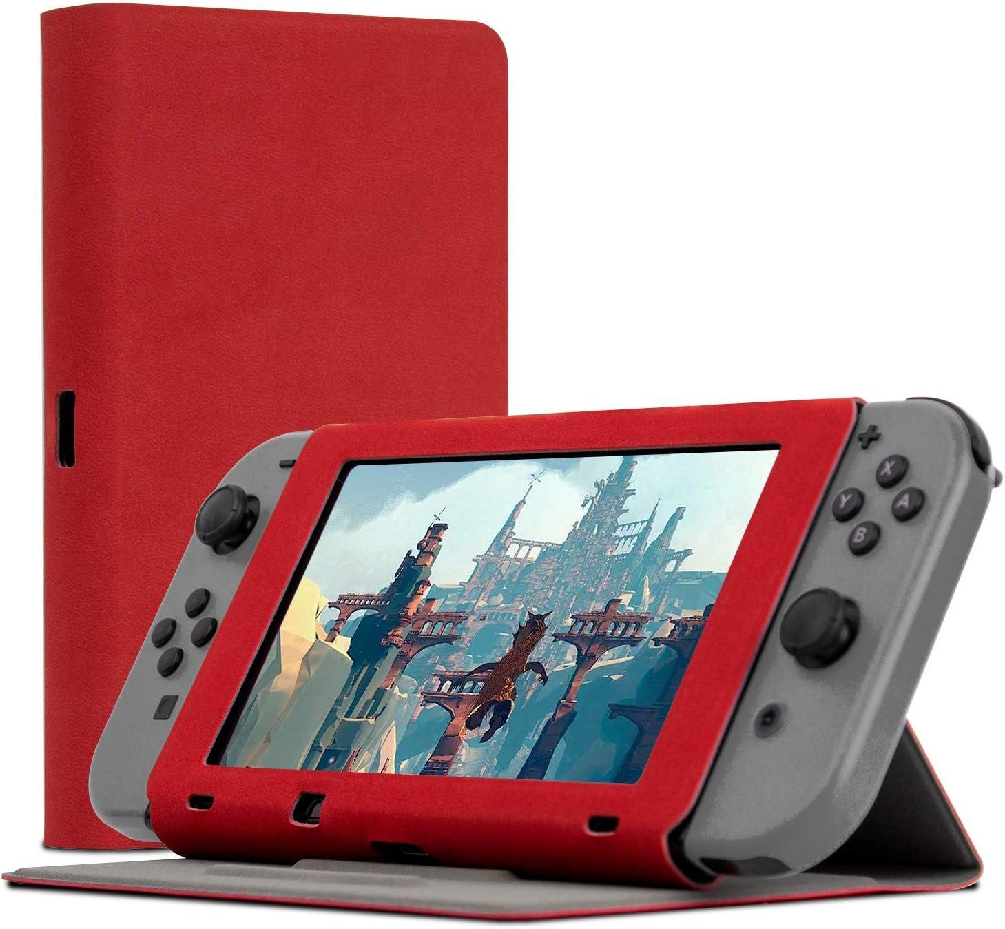 Funda de Orzly con Tapa y Soporte para la Nintendo Switch, Carcasa ROJA Multifuncional para la Nintendo Switch con Soporte Integrado y Tapa Protectora para la Pantalla de la Nintendo Switch: Amazon.es: