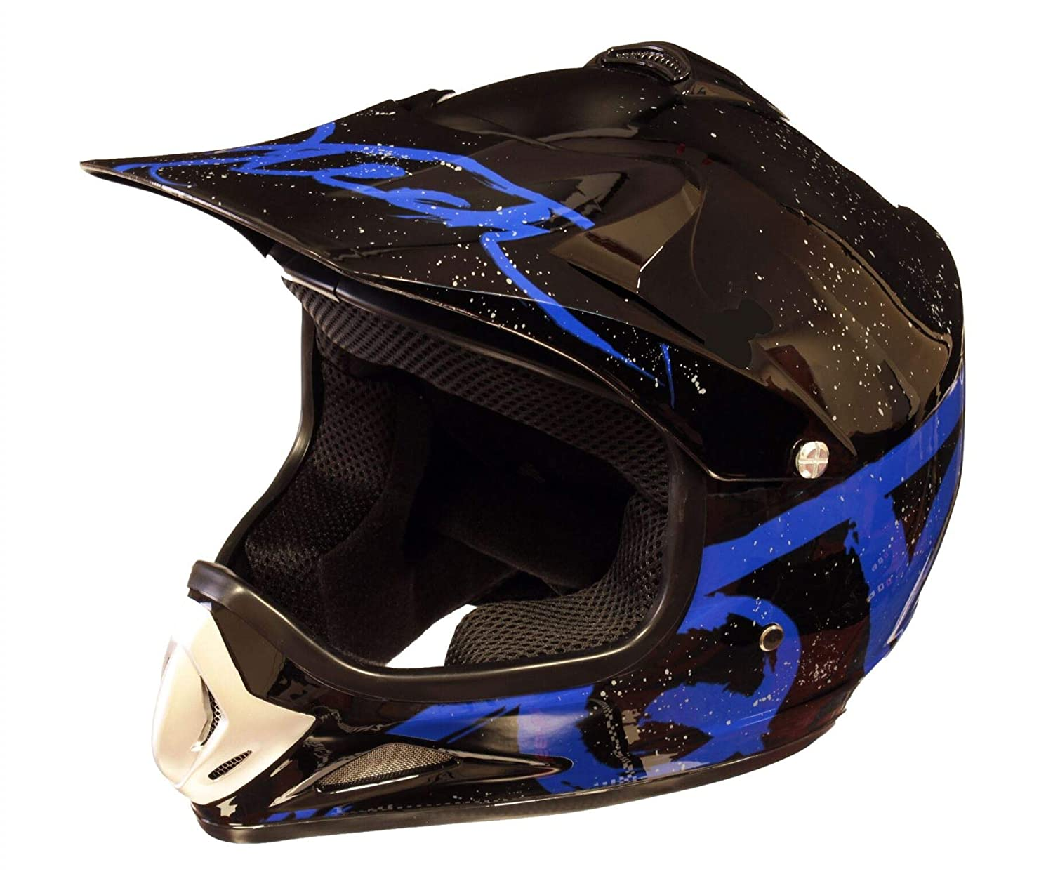 Small Qtech Childrens KIDS MOTOCROSS MX Style Helmet BMX Quad Bike Pulsar Blue