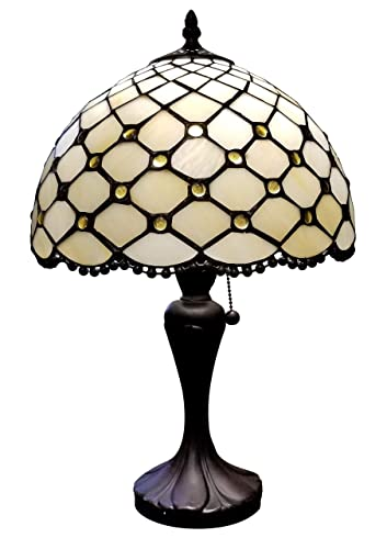 Amora Lighting Tiffany Style Table Lamp Banker Jeweled Beaded 19 Tall Glass White Yellow Stains Tan Elegant Vintage Light D cor Living Room Bedroom Office Handmade Gift AM120TL12B, 12 Inches
