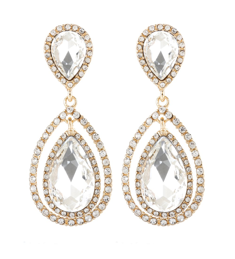 NLCAC Wedding Earrings Rose Gold Tear Drop Chanderlier Earrings for Bride (gold with clear crystal)