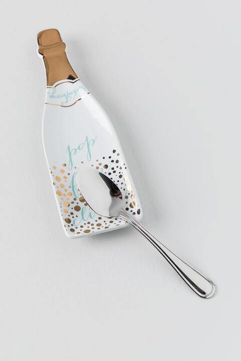 Mint and Gold Polka Dot Pop Fizz Clink Ceramic Spoon Rest | francesca's