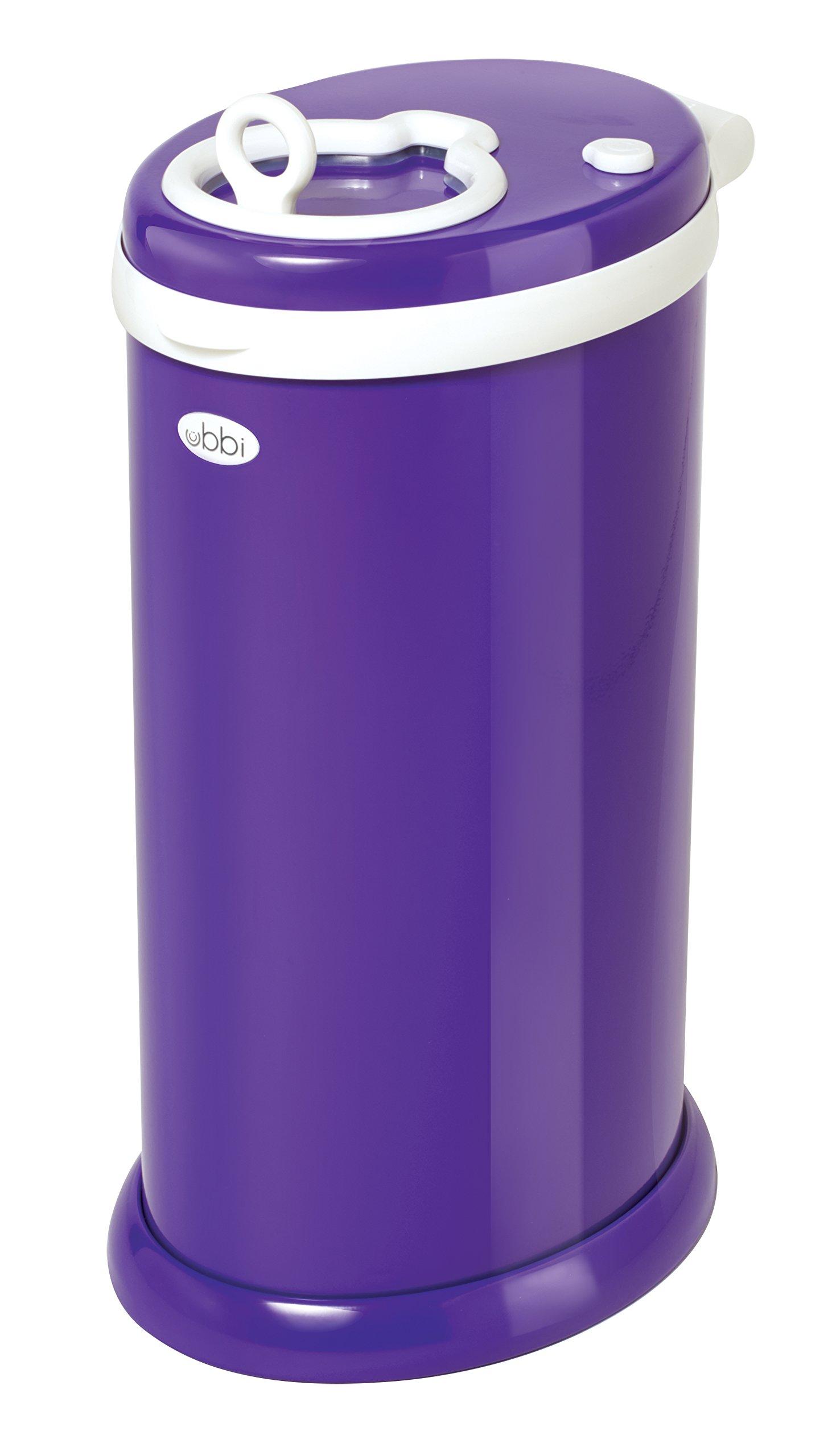 Ubbi Money Saving, No Special Bag Required, Steel Odor Locking Diaper Pail, Purple by Ubbi